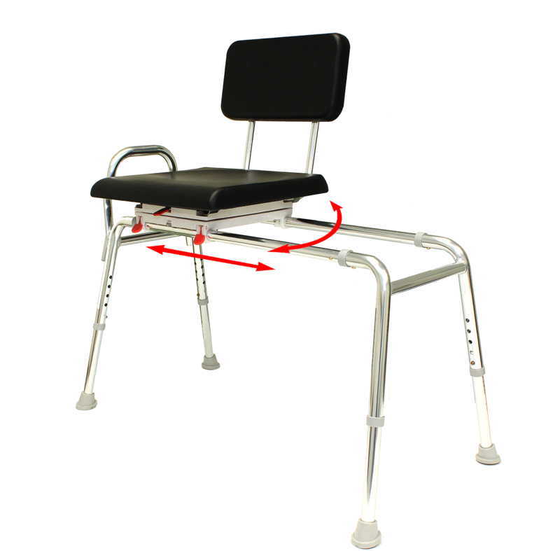 Padded Swivel Sliding Transfer Bench - 77661 - Regular