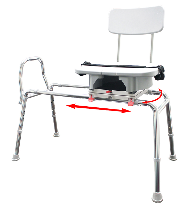 Swivel Sliding Bath Transfer Bench with Replaceable Cut-Out Seat - 77663 - Regular