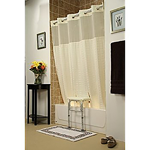 Whitaker Hookless Split Shower Curtain for All Tub Transfer Benches  - With Window - Beige - 71