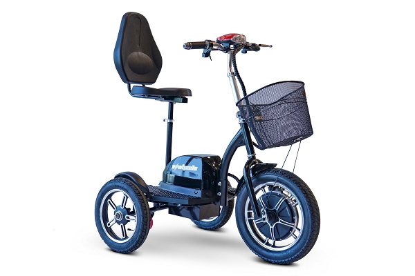 eWheels Big Wheels Scooter Anti-Flip Safety Wheel 18mph 20 Miles 500W Motor w/Basket - Black