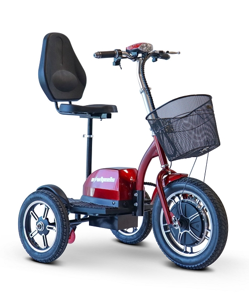 eWheels Big Wheels Scooter Anti-Flip Safety Wheel 18mph 20 Miles 500W Motor w/Basket - RED