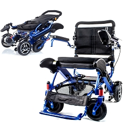 Geo Cruiser Elite EX Compact Lightweight Folding Heavy Duty Powerchair - 350lbs - Blue