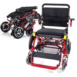 Geo Cruiser Elite EX Compact Lightweight Folding Heavy Duty Powerchair - 350lbs - Red
