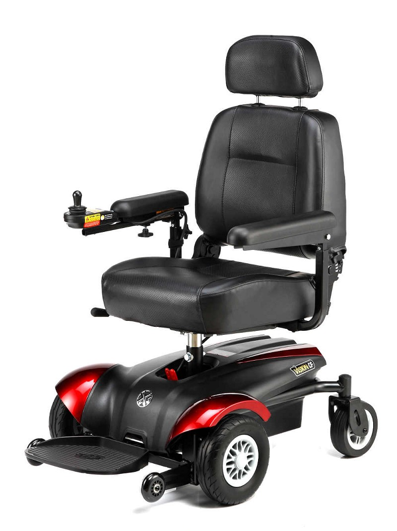 "Merits Vision CF - Front Wheel Drive Powerchair - 18""W x 16""D - Red"